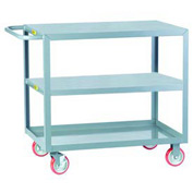 Little Giant® All Welded Service Cart 3LG-1824-BRK, Flush Top & Middle Shelves, 18 x 24