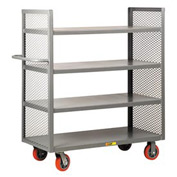 Little Giant® 2-Sided Shelf Truck DET4-2460-6PY, 4 Shelves, 24 x 60