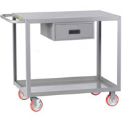 Little Giant® Service Cart with Drawer LG-2448-BRK-DR, Flush Top, 24 x 48