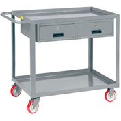 Little Giant® Service Cart, 2 Drawers LGL-2436-BK-2DR, Lip Shelves, 24 x 36