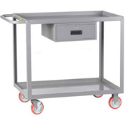 Little Giant® Service Cart with Drawer LGL-2436-BK-DR, Lip Shelves, 24 x 36