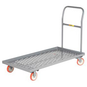 Little Giant® Platform Truck T-520-P-LU - Perforated Deck - 24 x 48 - Lip Edge - MORT Wheels