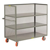 Little Giant® 3-Sided Truck T3-2460-6PY, 3 Shelves, Mesh Sides, 24 x 60