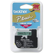 M Series Tape Cartridge for P-Touch Labelers, Black on Green, 1/2 Width