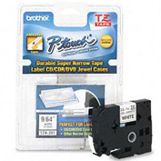 P-Touch Cartridge, TZ Super-Narrow Non-Laminated Tape, Black-on-White, 1/8W