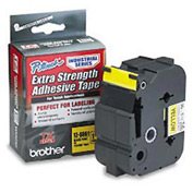 TZ Extra-Strength Adhesive Tapes-Laminated, Black on Yellow, 1-1/2w