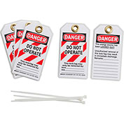 Brady® 103541 Lockout Tag- Danger Do Not Operate, 2 Sided, 5/Pkg, Polyester, 25/Pack