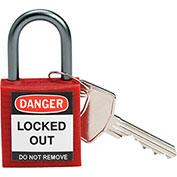 Brady® 143150 Compact Safety Padlock With Label, Aluminum Shackle, Red