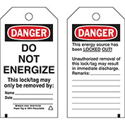 """Brady® 50261 Lockout Tag- Danger Do Not Energize, 2 Sided, Cardstock, 4""""W x 5-3/4""""H, 25/Pack"""