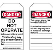 """Brady® 65441 Lockout Tag- Danger Do Not Operate, 2 Sided, Polyester, 4""""W x 5-3/4""""H, 25/Pack"""