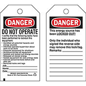 Brady® 65450 Lockout Tag- Danger Do Not Operate, 2 Sided, Cardstock, 25/Pack