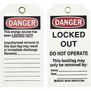 Brady® 65454 Lockout Tag- Danger Locked Out Do Not Operate, 2 Sided, Cardstock, 25/Pack