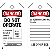 Brady® 65500 Lockout Tag- Danger Do Not Operate, photo tag, 2 Sided, Cardstock, 25/Pack