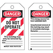 Brady® 65520 Lockout Tag- Danger Do Not Operate, 2 Sided, Heavy Duty Polyester, 25/Pack