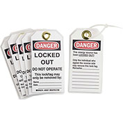 Brady® 65527 Lockout Tag- Danger Locked Out Do Not Operate, 2 Sided, Cardstock, 25/Pack