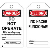 Brady® 65670 Lockout Tag- Danger Do Not Operate, Bilingual Engligh/Spanish, Cardstock, 25/Pack