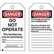 Brady® 66051 Lockout Tag- Danger Do Not Operate, Heavy Duty Polyester Encapsulated, 25/Pack