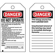Brady® 66061 Lockout Tag- Danger Do Not Operate, 2 Sided, Polyester, 25/Pack