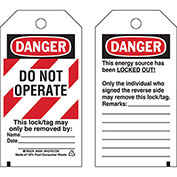 Brady® 66064 Lockout Tag- Danger Do Not Operate, 2 Sided Economy, Polyester, 25/Pack