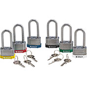 Brady® LC044-6 Steel Padlock Keyed Differently, Multi-Color, 6/Pack