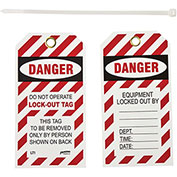 Brady® LT10 Lockout Tag- Danger Do Not Operate Lock-Out Tag, 2 Sided, 10/Pkg, Vinyl, 25/Pack