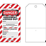 Brady® PLLT2  Danger Equipment Locked Out Tag, Two-part Tags With Stubs, Polyester, 25/Pack