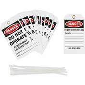 Brady® TG027E Lockout Tag - Danger Do Not Operate Equipment Locked Out, Cardstock, 25/Pack