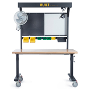 """Built Systems 60""""W x 30""""D Adjustable Height Assembly Table on Glides  with Laminate Top- Black"""