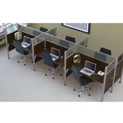 "Bestar® Six Straight Desk Workstation - 55-1/2""H - Chocolate - Pro-Biz Series"