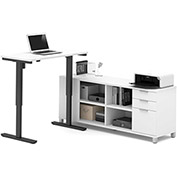 Bestar® L-Desk and Electric Height Adjustable Table - White - Pro-Linea Series