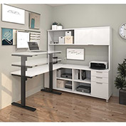 Bestar® L-Desk with Hutch and Electric Height Adjustable Table - White - Pro-Linea Series