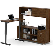 Bestar® L-Desk with Hutch and Electric Height Adjustable Table - Oak Barrel - Pro-Linea Series