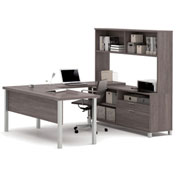 Bestar® Pro-Linea U-Desk with Hutch Bark Grey