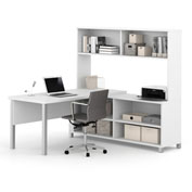 Bestar® Pro-Linea L-Desk with Hutch White