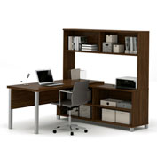 "Bestar® L Desk with Hutch - 71"" - Oak Barrel - Pro-Linea Series"