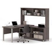 "Bestar® L Desk with Hutch - 71"" - Bark Grey - Pro-Linea Series"