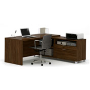 Bestar® Pro-Linea L-Desk Oak Barrel