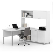 Bestar® Pro-Linea L-Desk with Sliding-Door Hutch White