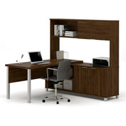 "Bestar® L Desk with Sliding-Door Hutch - 71"" - Oak Barrel - Pro-Linea Series"