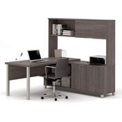 Bestar® Pro-Linea L-Desk with Sliding-Door Hutch Bark Grey