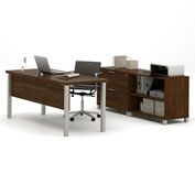 "Bestar® Executive Desk with Lateral File & Bookcase - 71"" - Oak Barrel - Pro-Linea Series"
