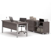 "Bestar® Executive Desk with Lateral File & Bookcase - 71"" - Bark Grey - Pro-Linea Series"