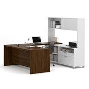 Bestar® Pro-Linea U-Desk with Hutch White & Oak Barrel