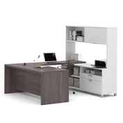 Bestar® Pro-Linea U-Desk with Hutch White & Bark Grey