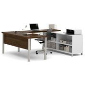 Bestar® Pro-Linea U-Desk White & Oak Barrel