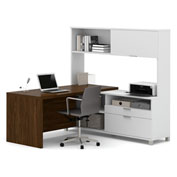 Bestar® Pro-Linea L-Desk with Hutch White & Oak Barrel