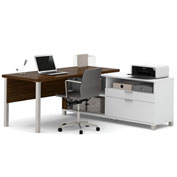 Bestar® Pro-Linea L-Desk White & Oak Barrel