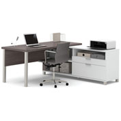 Bestar® Pro-Linea L-Desk White & Bark Grey