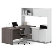 Bestar® Pro-Linea L-Desk with Sliding-Door Credenza & Hutch White & Bark Grey