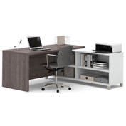 Bestar® Pro-Linea L-Desk with Credenza & Hutch White & Bark Grey